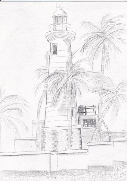 Galle - Dessin du Phare d'Ustrecht Point